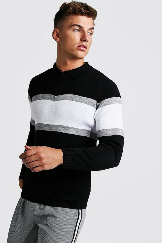 Mens Black Muscle Fit Long Sleeve Colour Block Knitted Polo