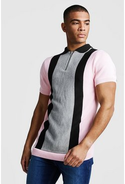 Mens Slate Muscle Fit Short Sleeve Colour Block Knitted Polo