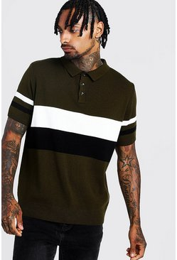 Mens Black Regular Fit Short Sleeve Colour Block Knitted Polo
