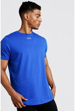 Mens Cobalt MAN Curved Hem Short Sleeve T-Shirt