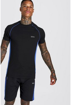 Mens Black MAN Muscle Fit Raglan T-Shirt With Piping