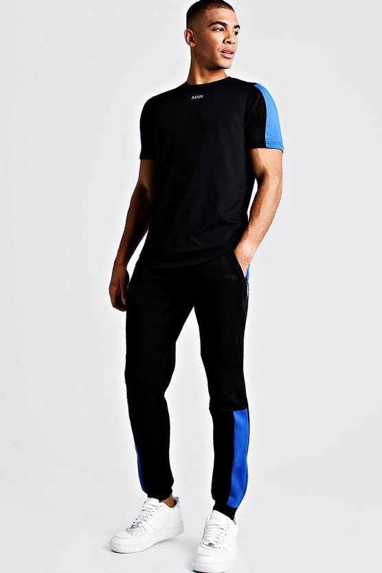 Mens Black MAN Biker Skinny Fit Joggers