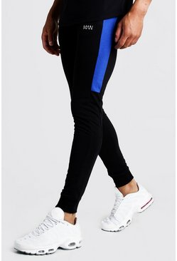 Mens Black MAN Super Skinny Jersey Jogger With Side Panels