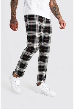 Mens Grey Tartan Cropped Smart Trouser With Chain