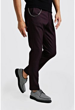 Burgundy Jaspe Mini Check Smart Trouser With Chain