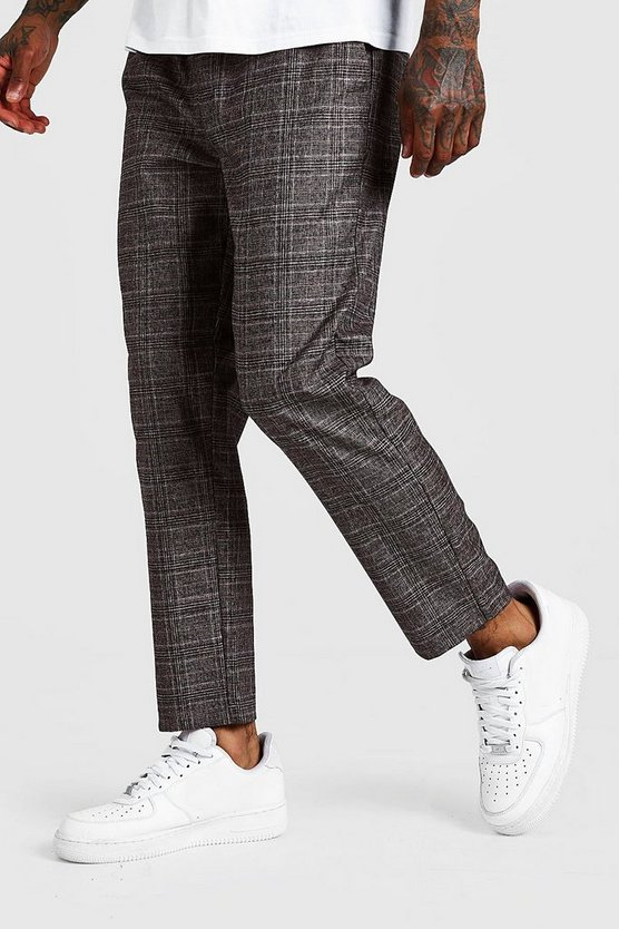 Mens Brown Check Smart Jogger Trouser