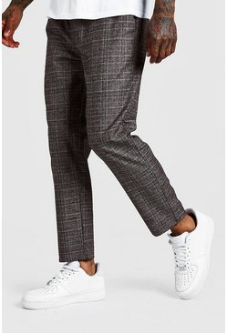 Brown Check Smart Jogger Pants