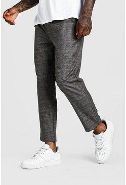 Black Check Smart Cropped Jogger Pants