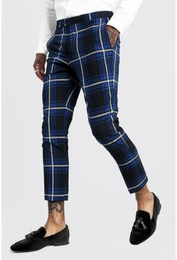 Cobalt Large Scale Tartan Smart Cropped Pants