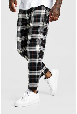 Mens Blue Multi Check Smart Cropped Jogger Trouser