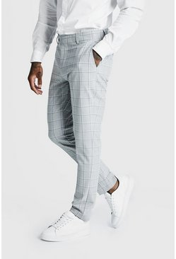 Mens Grey Windowpane Check Smart Formal Trouser