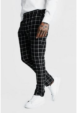 Mens Black Windowpane Check Smart Formal Trouser