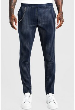Mens Navy Stripe Chain Detail Smart Trouser