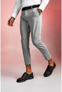 Grey Plain Buckle Detail Cropped Pants