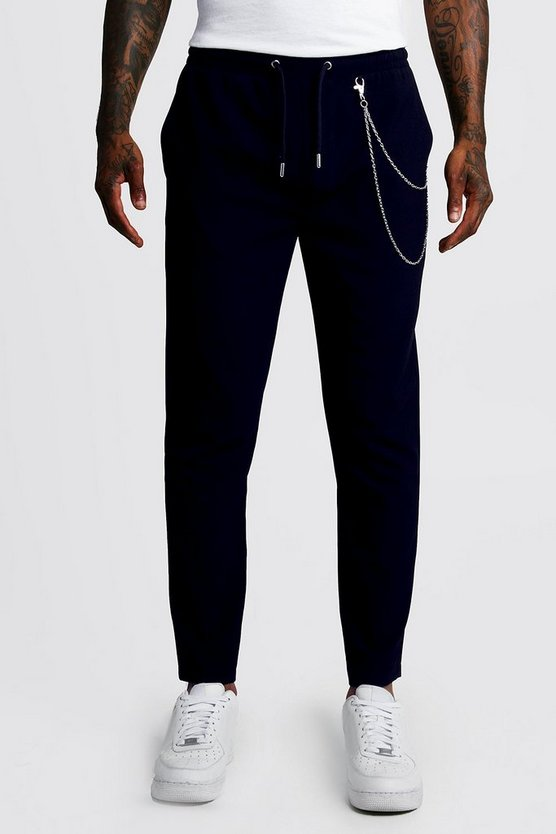 Mens Navy Smart Jogger Trouser With Chain Detail