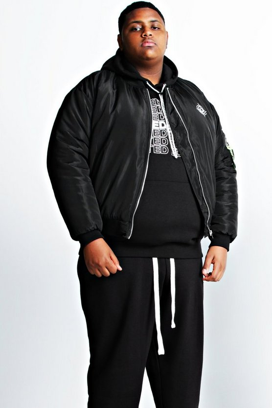 Black Deno Driz Padded Limited Edition Print Bomber