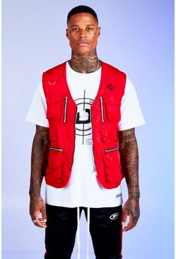 Mens Red Deno Driz Utility Vest With Multi Pocket Detail