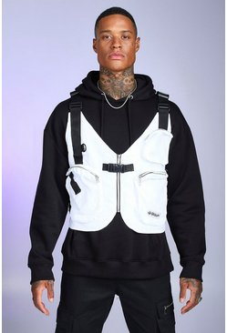 White Multi Pocket Layered Utility Vest