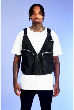 Mens Black Deno Driz Layered Utility Vest
