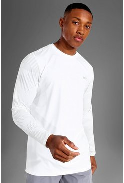 White Man Active Abstract Sleeve Long Sleeve Top
