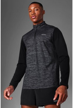 Black Man Active Textured ¼ Zip Panelled Top