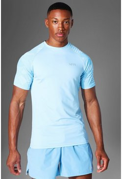 Light blue Man Active Abstract Raglan Muscle Fit T Shirt
