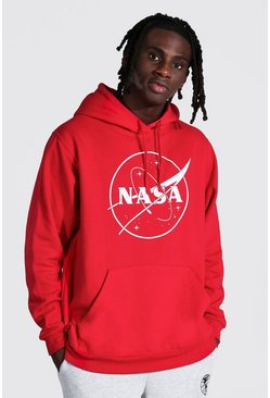 Red Oversized Nasa Print Hoodie