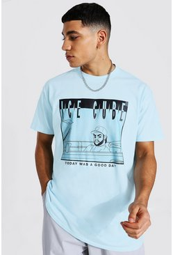 Light blue Oversized Ice Cube Cartoon License T-shirt
