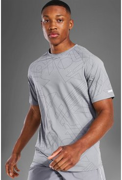 Grey Man Active Raglan Geometric Print T Shirt
