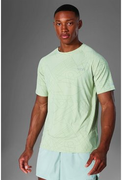 Mint Man Active Raglan Geometric Print T Shirt