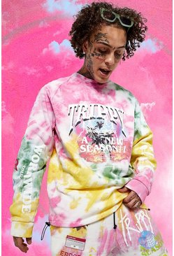 Oversized Official Man Trippy Tour Sweater, Yellow
