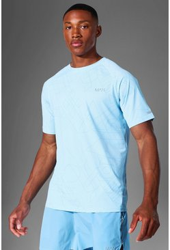 Light blue Man Active Raglan Geometric Print T Shirt