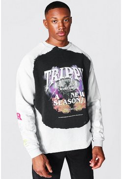 Oversized Official Man Trippy Tour Sweater, Stone