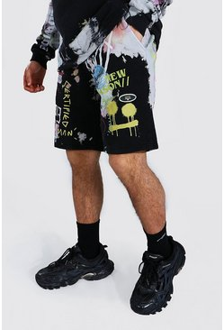 Regular Fit Official Tie Dye Jersey Shorts, Black