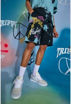 Blue Regular Fit Trippy Funk Tie Dye Jersey Shorts