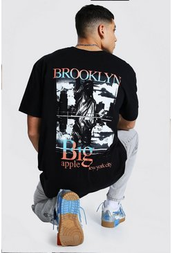 Black Oversized Brooklyn Back Graphic T-Shirt