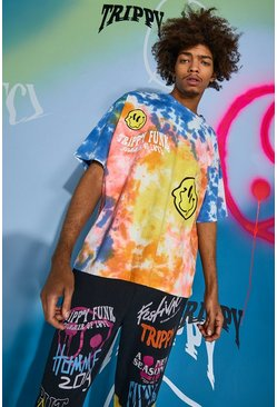 Red Oversized Trippy Drip Face Tie Dye T-shirt