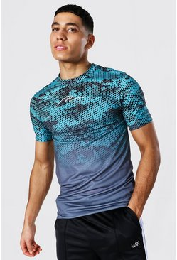 Teal Muscle Fit Man Ombre Camo Print T-shirt