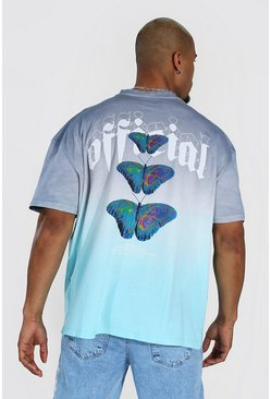 Blue Oversized Ombre Butterfly Back Print T-Shirt
