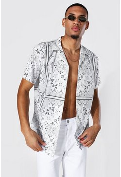 White Tall Short Sleeve Bandana Oversized Shirt