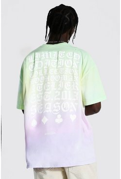 Multi Oversized Ombre Back Graphic T-Shirt