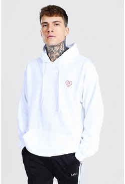 White Oversized Heart Face Hoodie