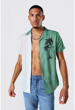 Green Tall Short Sleeve Revere Spliced Aloha Shirt