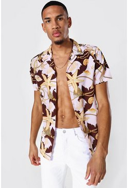 Chocolate Tall Short Sleeve Revere Shell Print Shirt