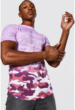 Pink Muscle Fit Man Signature Camo Ombre T-shirt