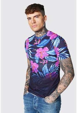 Black Muscle Fit Man Signature Floral Ombre T-shirt