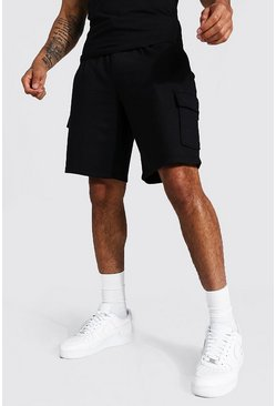Black Basic Mid Length Loose Cargo Jersey Shorts