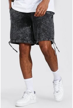Charcoal Loose Original Man Seam Acid Wash Shorts