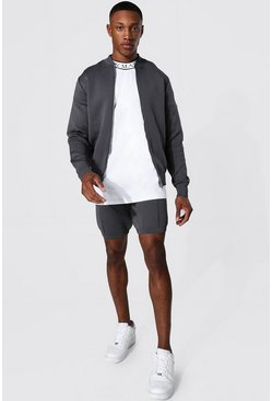 Charcoal Smart Knitted Bomber And Short Set