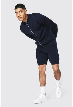 Navy Smart Knitted Bomber And Short Set
